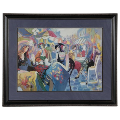 Offset Lithograph After Isaac Maimon of Café Scene