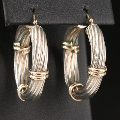 Sterling Silver Fluted Hoop Earrings with 14K Accents