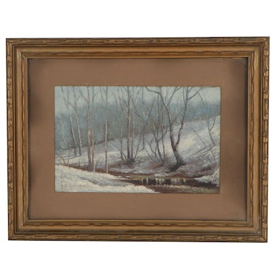 Frederick Ehmann Landscape Oil Painting of Winter Scene, Early 20th Century