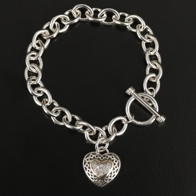 Sterling Diamond Pavé Heart Charm Bracelet with 14K Accent