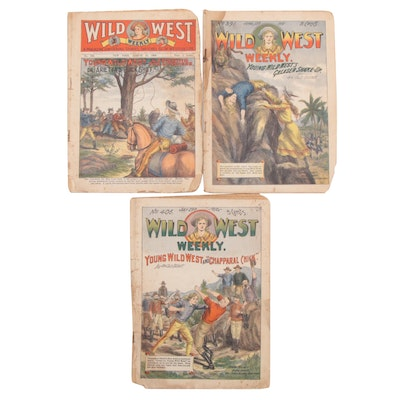 """Illustrated """"Wild West Weekly"""" Magazine Issues, 1909–1910"""