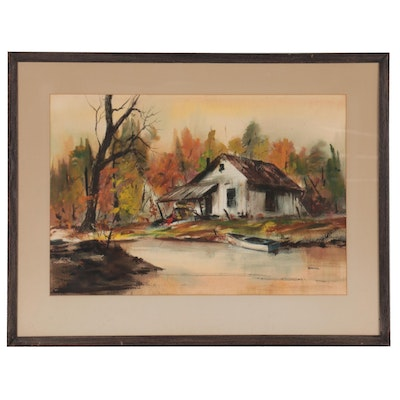 Betty Stroppel Landscape Watercolor Painting of Cabin, Mid to Late 20th Century