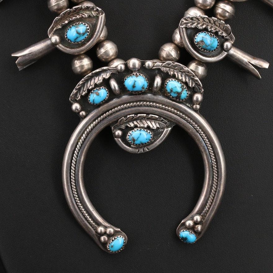 1970s James M. Haley Navajo Diné Sterling Turquoise Squash Blossom Necklace