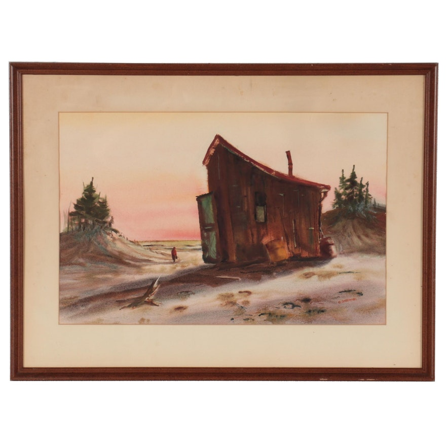 """Betty Stroppel Landscape Watercolor Painting """"Charlie's Place"""""""