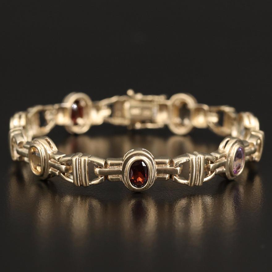 Sterling Silver Bracelet Featuring Topaz, Amethyst and Garnet