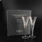 """Waterford Crystal Millennium Series """"Love"""" Fluted Champagne Glasses"""