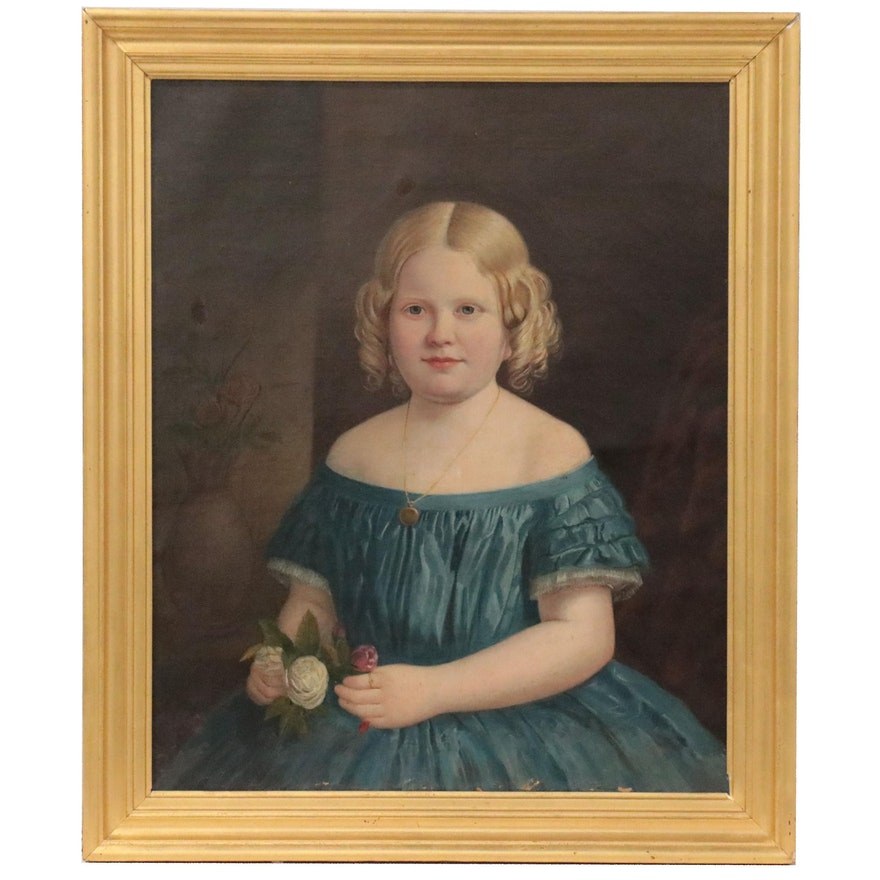 Portrait Oil Painting of Young Girl, Mid to Late 19th Century