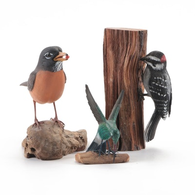 Randy and Elaine Fisher and Other Wood Bird Sculptures, Circa 1985