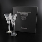 """Waterford Crystal Millennium Series """"Prosperity"""" Fluted Champagne Glasses"""