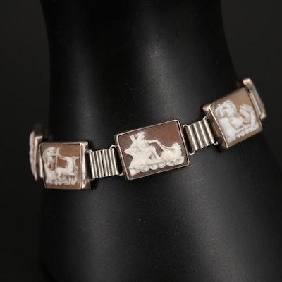 800 Silver Roman Mythology Days of the Week Cameo Panel Bracelet