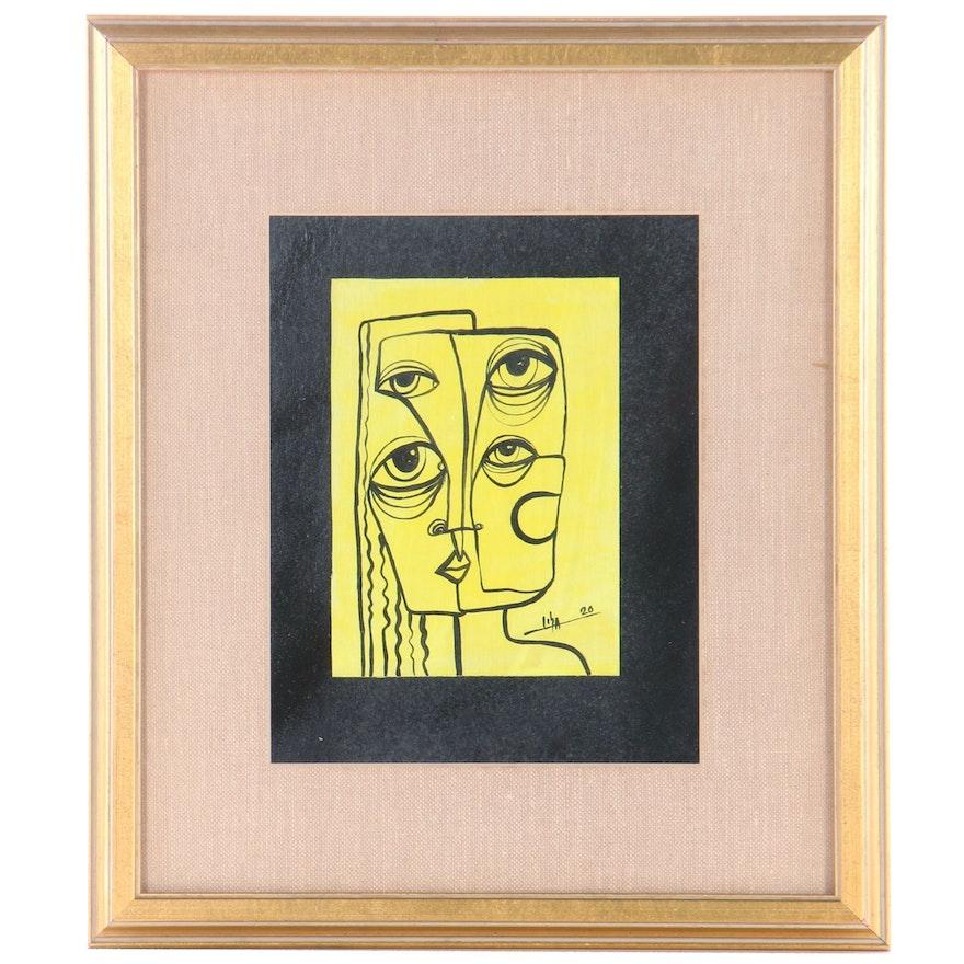 "Lisandra Diaz Castro Acrylic Painting ""Miradas,"" 2020"