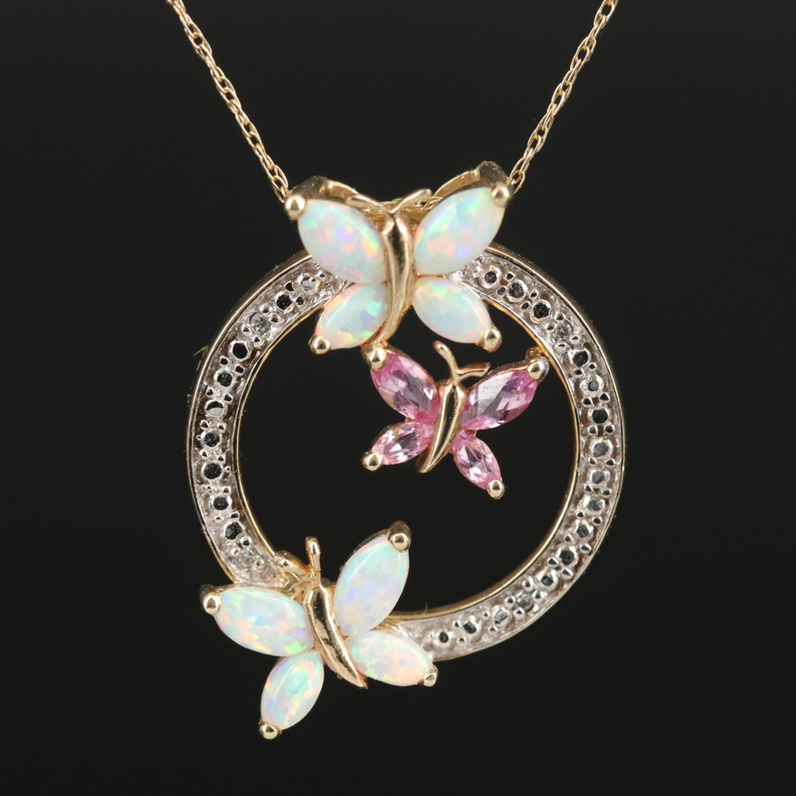 10K Opal, Sapphire and Diamond Butterfly Pendant Necklace