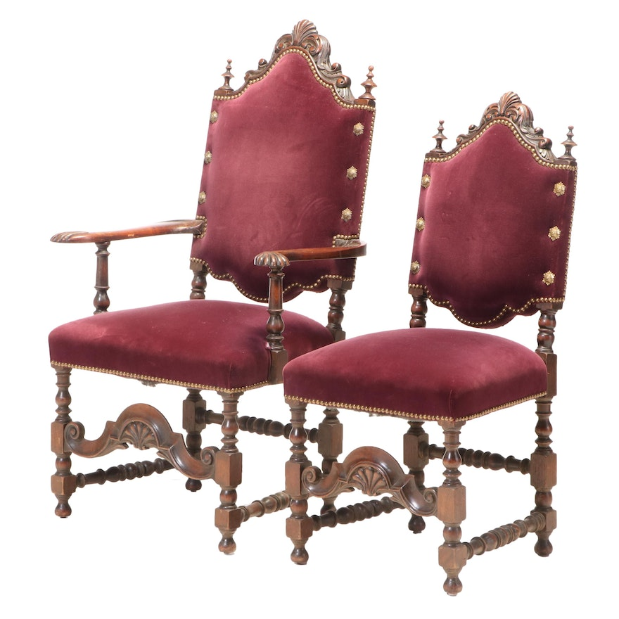 Two Baroque Style Carved Walnut Parlor Chairs, Late 19th/Early 20th Century