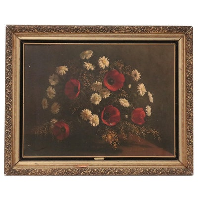 """Large-Scale Offset Lithograph """"Gift of Flowers,"""" Late 20th Century"""