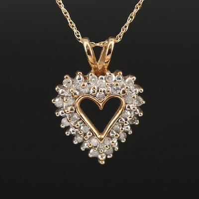 10K Diamond Heart Pendant on 14K Singapore Chain Necklace