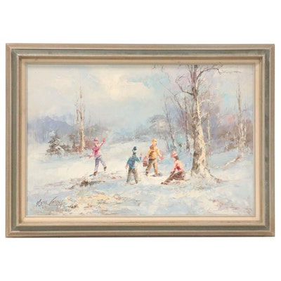 Marie Charlot Landscape Oil Painting of Children in the Snow, Late 20th Century