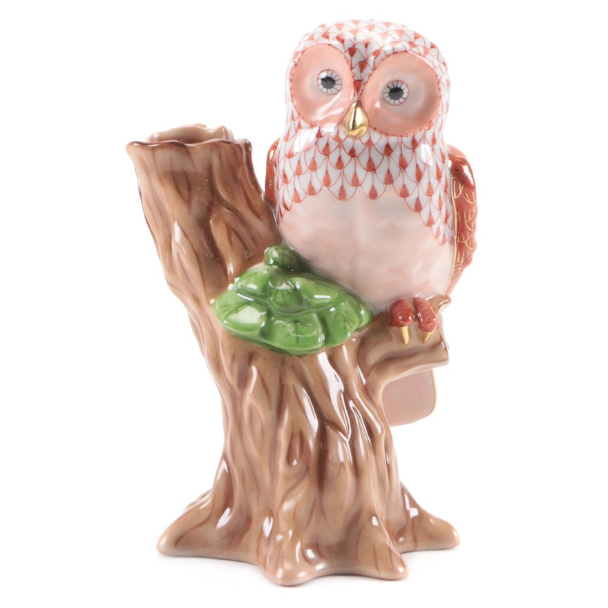 "Herend Rust Fishnet ""Night Owl"" Porcelain Figurine"