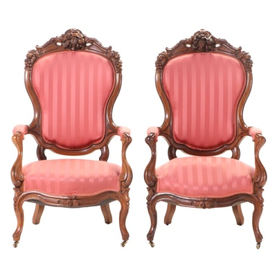Near Pair of American Rococo Revival Carved Walnut Parlor Chairs