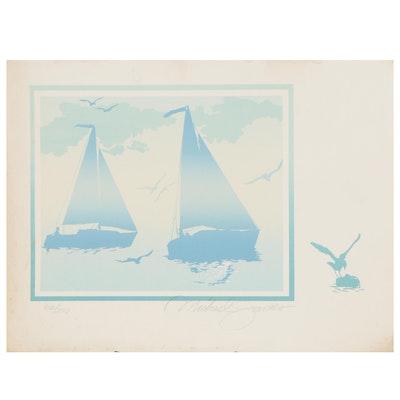 "Michael James Serigraph ""Full Sail,"" Late 20th Century"
