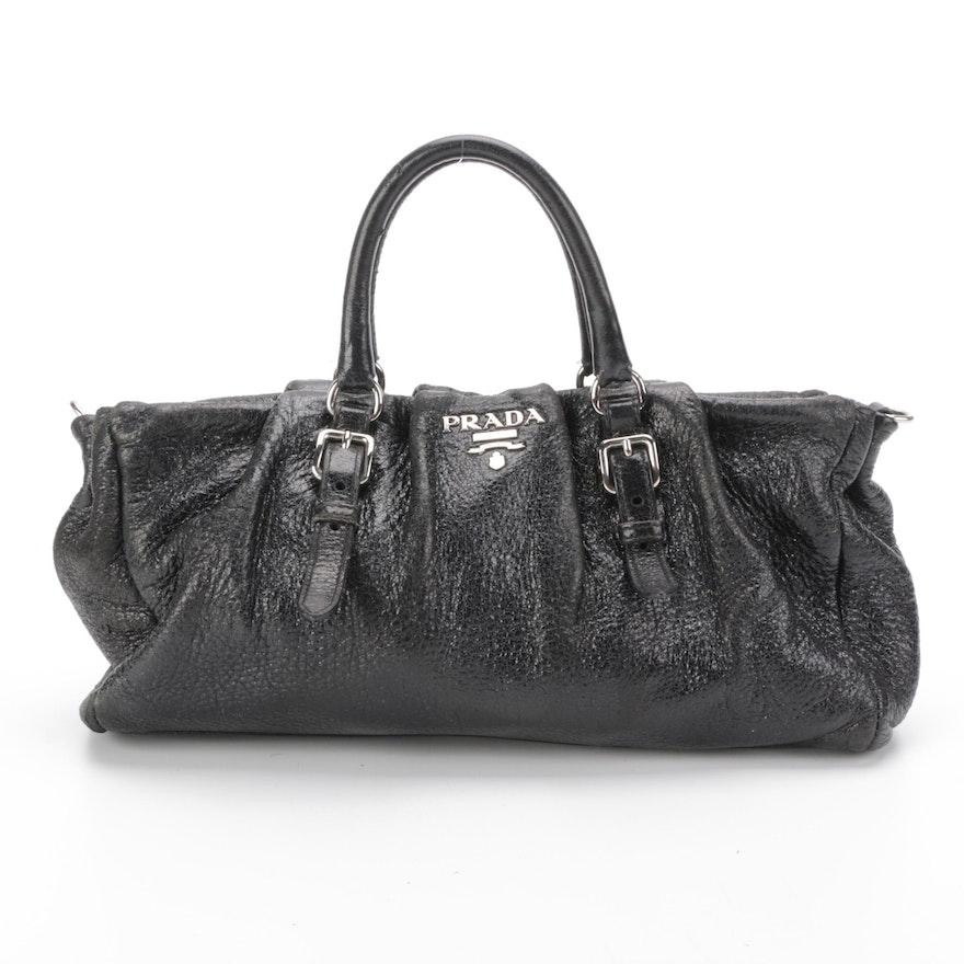 Prada Black Crinkle Leather Handbag