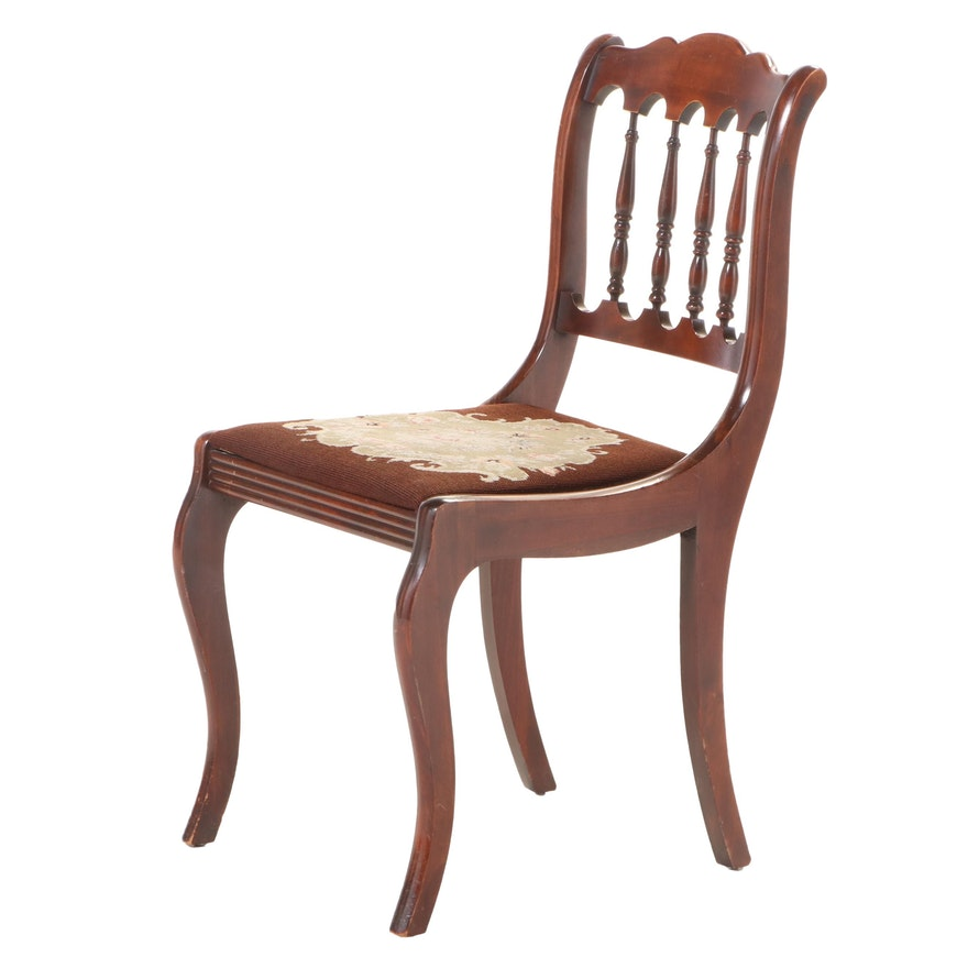 Classical Style Mahogany-Stained and Needlepoint Side Chair, Early 20th Century