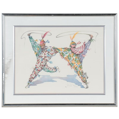 """Rose Cameron Smith Offset Lithograph """"Carnival Clowns,"""" 1988"""