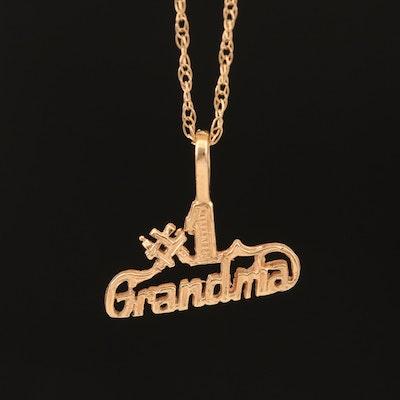 14K #1 Grandma Pendant Necklace