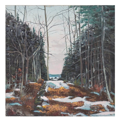 R. Loughrey Landscape Oil Painting of Snowy Forest, 1986