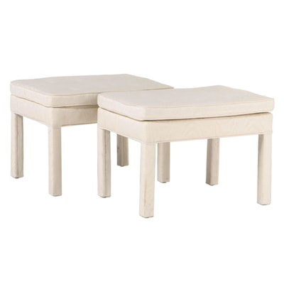 Pair of Modernist Button-Tufted Parsons Stools, Late 20th Century