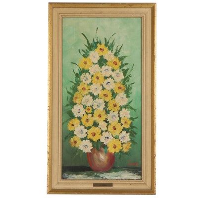 M. Cordea Still Life Oil Painting of Flowers, Late 20th Century