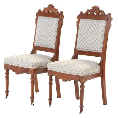 Pair of Victorian Walnut and Burl Walnut Side Chairs, Late 19th Century