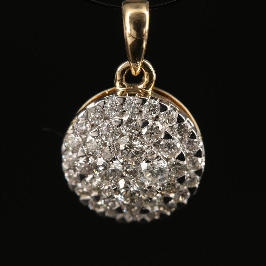14K Diamond Circular Cluster Pendant