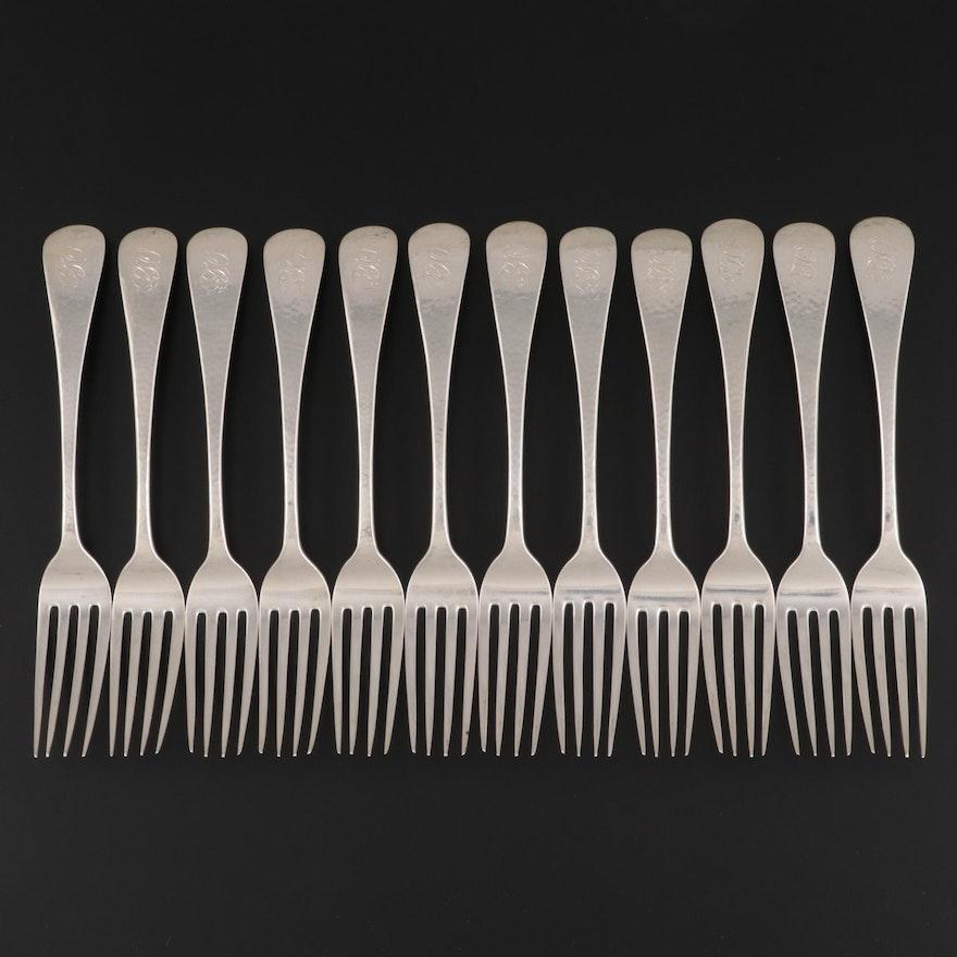 George W. Shiebler & Co. Sterling Silver Hammered Dinner Forks
