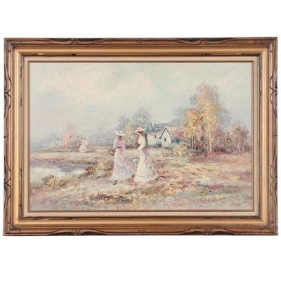 Marie Charlot Oil Painting of Women Walking Near Lake, Late 20th Century