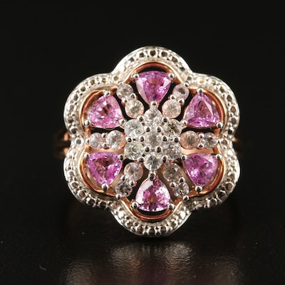 14K White and Pink Sapphire Ring