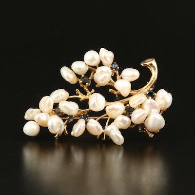 14K Pearl and Sapphire Foliate Brooch