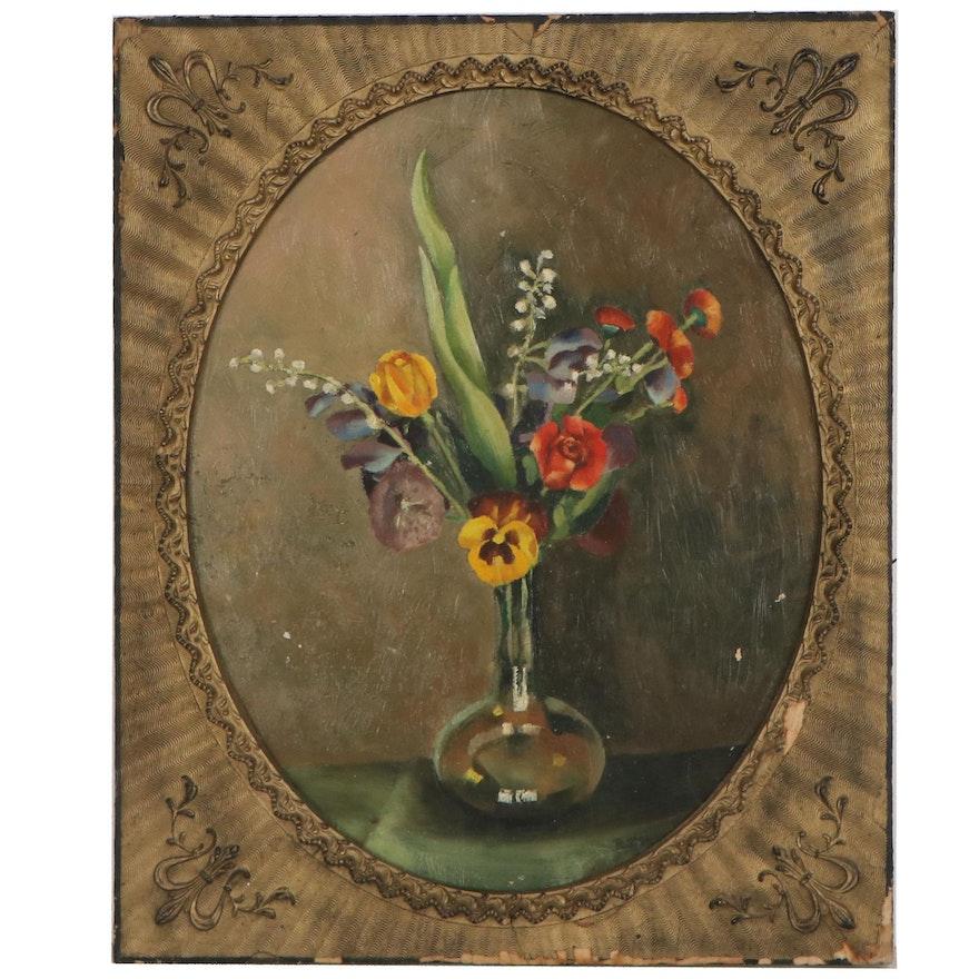 Robert Sidenberg Still Life Oil Painting of Flowers, 1935