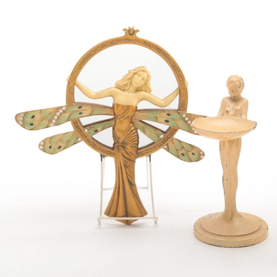 Top Collection Art Deco Style Mirror and Other Jewelry Stand