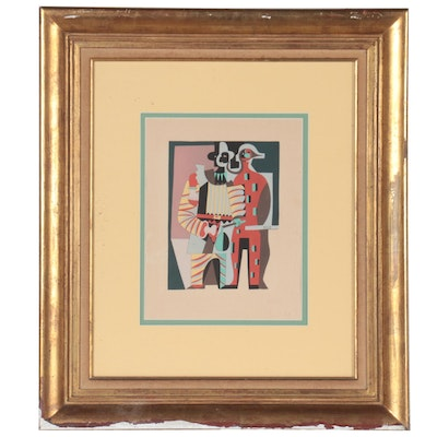 """Serigraph After Pablo Picasso """"Pierrot and Harlequin (recto)"""""""