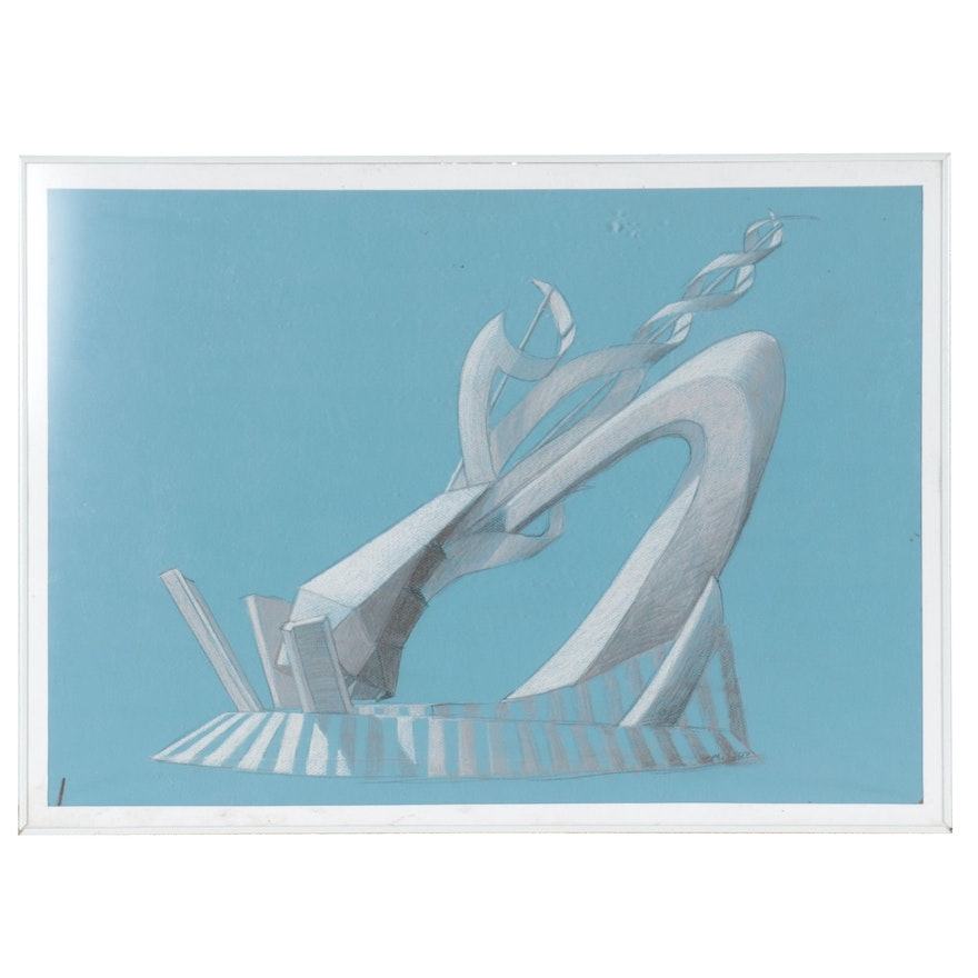 """T. Mully Abstract Pastel Drawing """"The Blue Slide,"""" 2007"""
