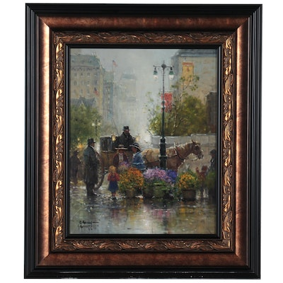 """G. Harvey Offset Lithograph """"Shopping for Flowers"""""""
