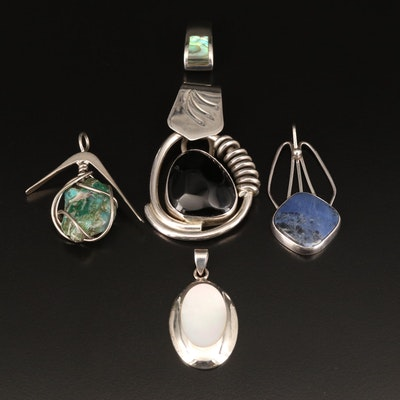 Sterling Pendants Including Abalone, Agate and Mother of Pearl
