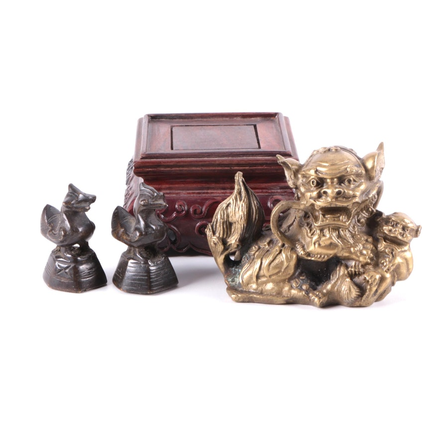 Burmese Bronze Hintha Bird Opium Weights and Chinese Brass Guardian Lion