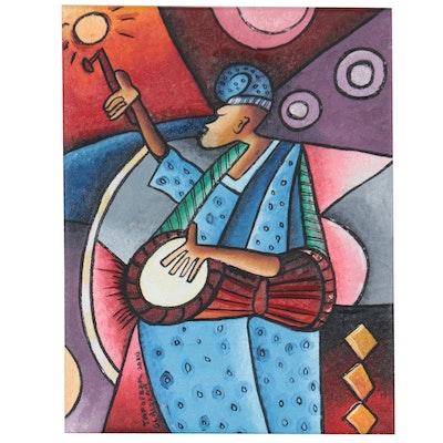 "Taofeek Olalekan Oil Painting ""Drummer Fag,"" 2020"