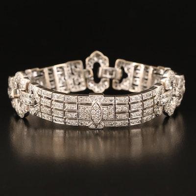 Art Deco Style 18K 5.08 CTW Diamond Bracelet with Milgrain Detail
