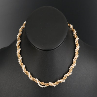 14K Pearl Twisted Rope Chain Necklace