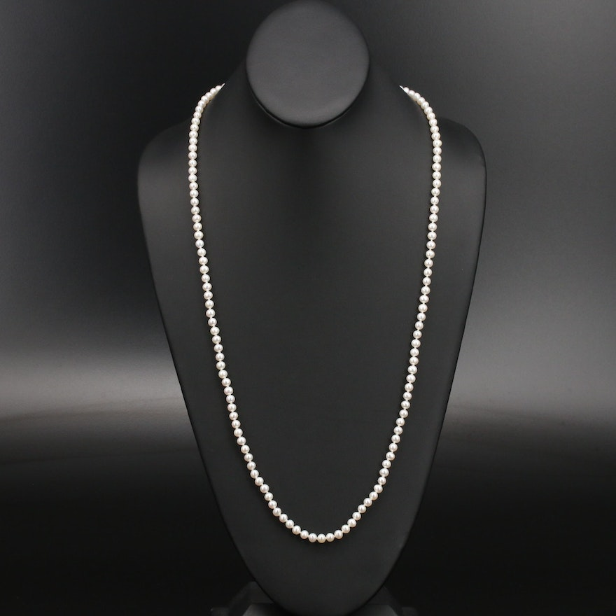 Matinee Length Pearl Necklace with 14K Clasp