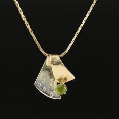 14K Peridot and Diamond Pendant on 18K Chain