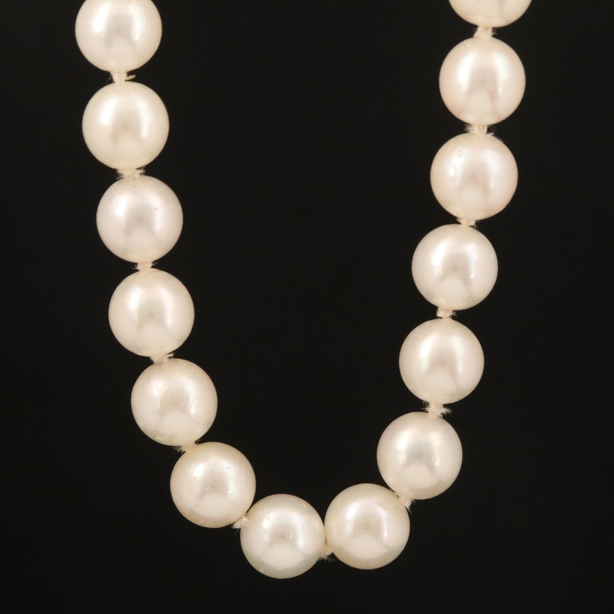 Opera Length Pearl Necklace with 14K Clasp