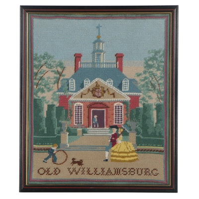 """""""Old Williamsburg"""" Needlepoint Embroidery Panel, Late 20th Century"""